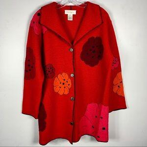 Vintage Susan Bristol Wool Floral Patch Coat Red